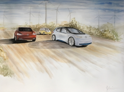 Aquarell auf Leinwand: die neue Volkswagen I,D. Elektrooffensive: I.D., Crozz und Buzz betrieben von Windenergie. Bild digitalisiert. Von der Künstlering als limitierte Auflage von 99 Stück, Hand signiert.